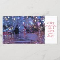 Christmas theme water drop photocard holiday card