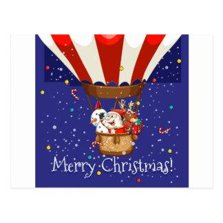 Christmas theme with Santa on balloon Postcard