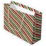 [ Thumbnail: Christmas Themed Colors Lines Gift Bag ]
