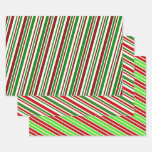 [ Thumbnail: Christmas-Themed Colours Lines/Stripes Wrapping Paper Sheets ]