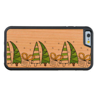Christmas themed doodles design, kid's drawnings carved cherry iPhone 6 bumper case