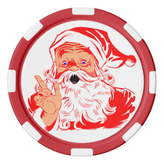 Christmas Themed Old School Santa Claus Set Of Poker Chips