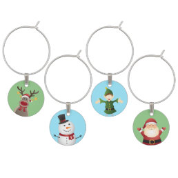 Christmas Themed Wine Charms- Holiday decor Wine Glass Charm