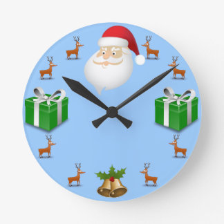 Christmas Themed With Santa Round Wall Clock