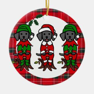 Christmas Three Black Lab Puppies Christmas Ornaments