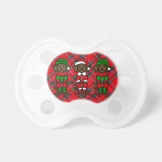 Christmas Three Chocolate Lab Puppies Pacifiers