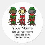 Christmas Three Lab Puppies Classic Round Sticker