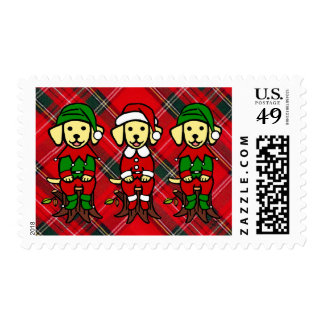 Christmas Three Yellow Lab Puppies Postage Stamp