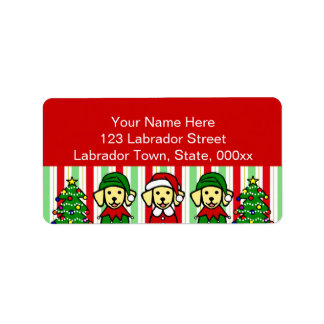 Christmas Three Yellow Labrador Puppies Label