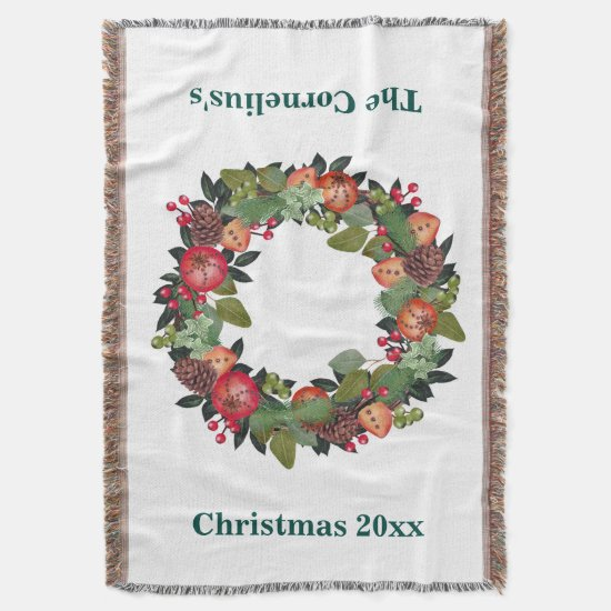 Christmas Throw, Christmas Wreath Throw Blanket
