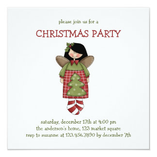 """Christmas Thyme · Angel 5.25"""" Square Invitation Card"""
