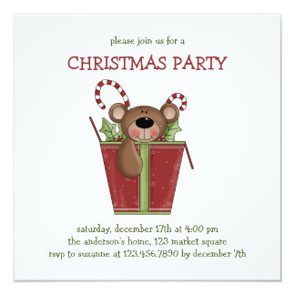 """Christmas Thyme · Box with Gifts 5.25"""" Square Invitation Card"""