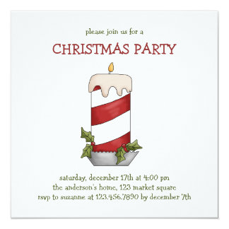 """Christmas Thyme · Candy Cane Candle 5.25"""" Square Invitation Card"""