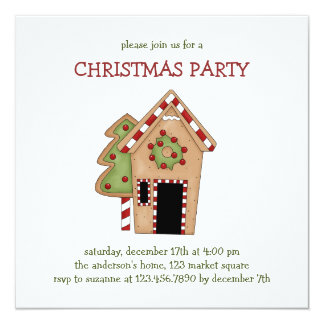 """Christmas Thyme · Gingerbread House 5.25"""" Square Invitation Card"""