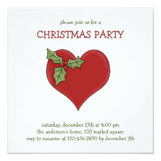 """Christmas Thyme · Heart & Holly 5.25"""" Square Invitation Card"""