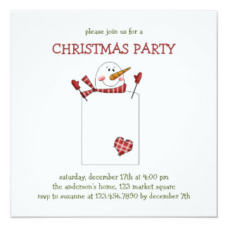 "Christmas Thyme · Snowman 5.25"" Square Invitation Card"