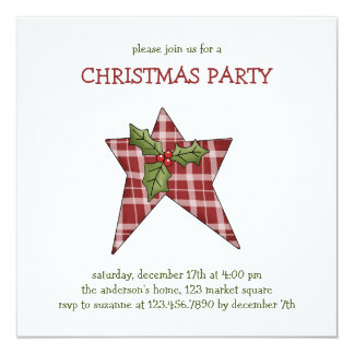 """Christmas Thyme · Star & Holly 5.25"""" Square Invitation Card"""