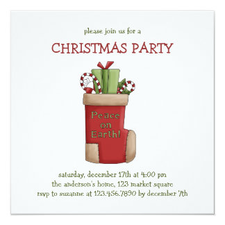 "Christmas Thyme · Stocking 5.25"" Square Invitation Card"