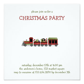 """Christmas Thyme · Toy Train 5.25"""" Square Invitation Card"""
