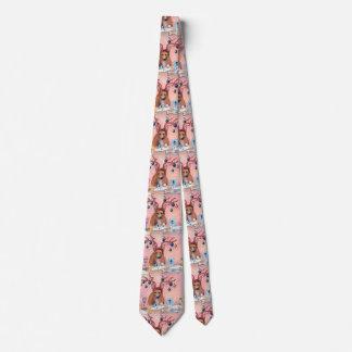 christmas tie, corgi dog writing christmas cards neck tie