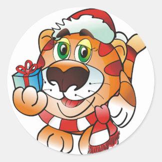Christmas Tiger Classic Round Sticker