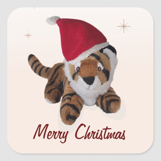Christmas Tiger In Santa Hat Name Gift Tag