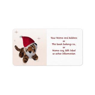 Christmas Tiger Santa Hat Name Gift Tag Bookplate at Zazzle