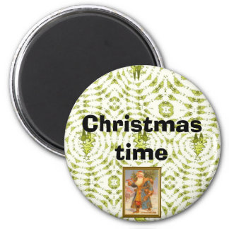 Christmas Time, Blue Santa 2 Inch Round Magnet