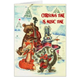 Christmas time is  music time, animal band card