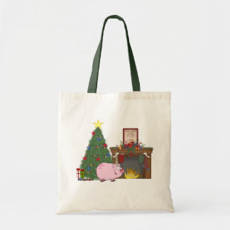 Christmas Time Pig Canvas Bags