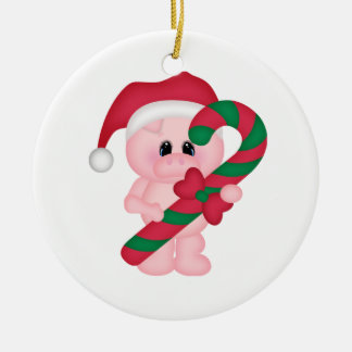 Christmas Time Pig Double-Sided Ceramic Round Christmas Ornament
