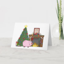 Christmas Time Pig Holiday Card