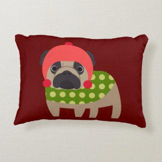 Christmas Time Pug Accent Pillow