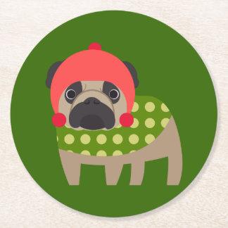 Christmas Time Pug Round Paper Coaster