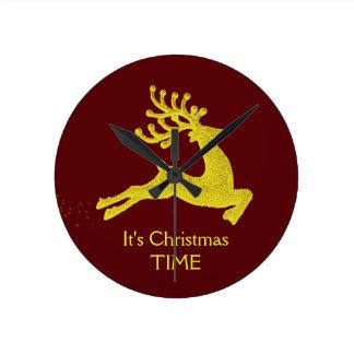 Christmas Time Reindeer Clock