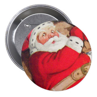 Christmas Time Santa Claus Button