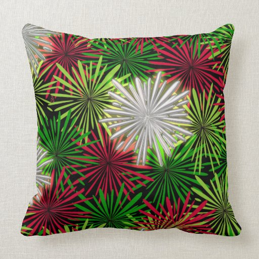 Christmas tinsel pompoms red green and white throw for Green and white throw pillows