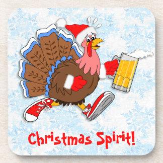 Christmas Tipsy Turkey (Beer) Beverage Coaster