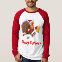 Christmas Tipsy Turkey (Beer) - LS Raglan T-Shirt