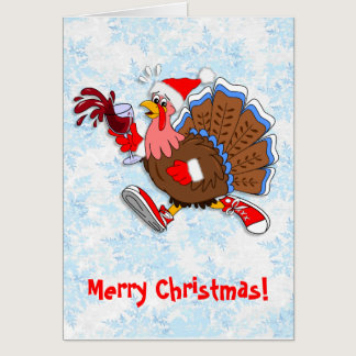 Christmas Tipsy Turkey (Wine) Card