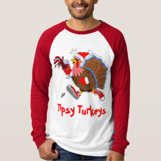 Christmas Tipsy Turkey (Wine) - LS Raglan T-Shirt