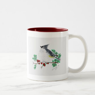 christmas titmouse, Tufted Titmouse Two-Tone Coffee Mug