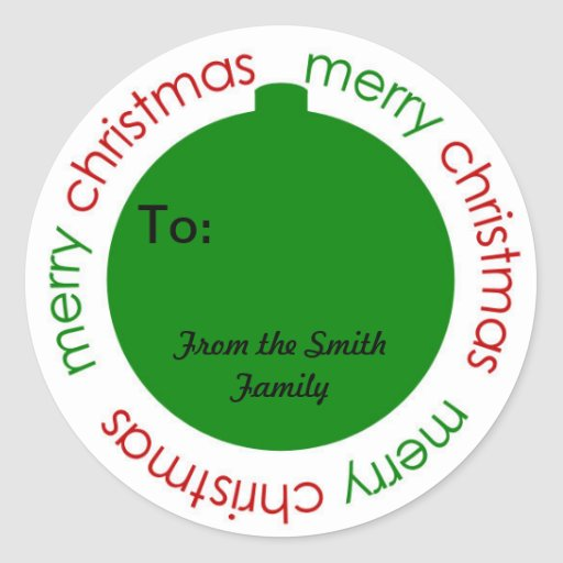 Christmas to and from stickers