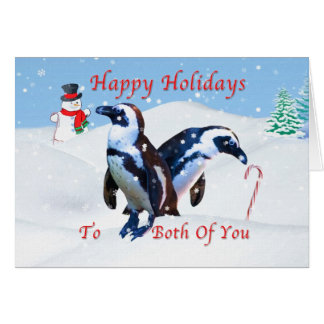 Christmas, To Both of You, Penguins in Snow Card