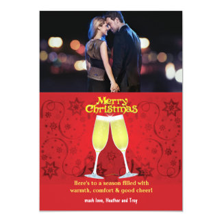 Christmas Toast Holiday Photo Card Personalized Invitations