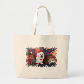 Christmas - Toby - Mixed Breed Large Tote Bag