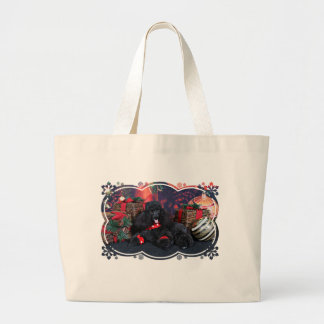 Christmas - Toby - Poodle Large Tote Bag