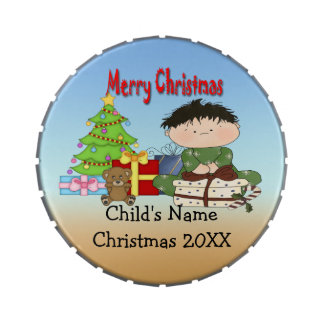 Christmas Toddler Boy Giant Round Shaped Candy Tin