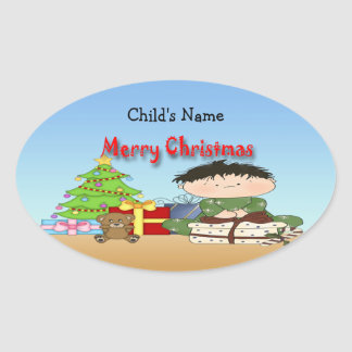Christmas Toddler Boy Oval Stickers