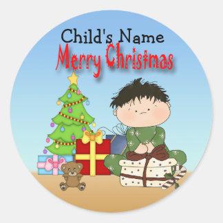 Christmas Toddler Boy Round Stickers